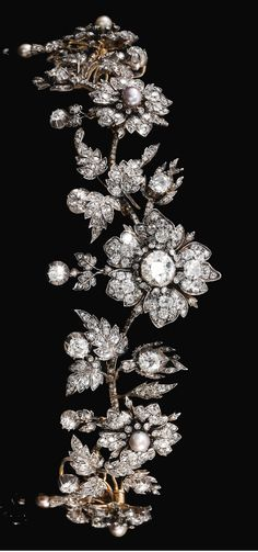 Natural pearl and diamond tiara, late 19th century.