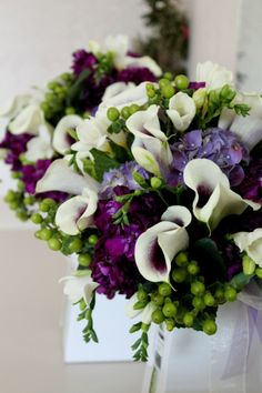 Wedding bouquet purple themed