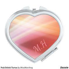 Pink Bokeh Tartan Mirror For Makeup