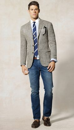 Shop this look for $345:  http://lookastic.com/men/looks/dress-shirt-and-blazer-and-belt-and-jeans-and-tassel-loafers-and-tie/821  — Light Blue Dress Shirt  — Grey Herringbone Blazer  — Brown Leather Belt  — Blue Jeans  — Brown Leather Tassel Loafers  — Navy and White Horizontal Striped Tie