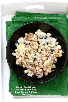 Summery Vegan Potato Salad with roasted potatoes, roasted Cauliflower, chickpeas and zucchini tossed in a vegan sour cream and onion dressing. Easy Vegan Recipe