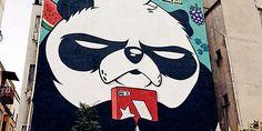 """İstanbul sokaklarına """"kızgın pandalar"""" çiziyor"""