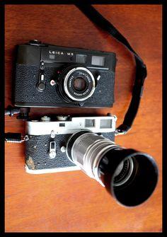 leica m4 with elmarit 90. leica m5 with voigtlander skopar 35 pancake ii. fun.