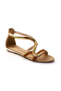 WAVE PENDANT SANDALS-Tan
