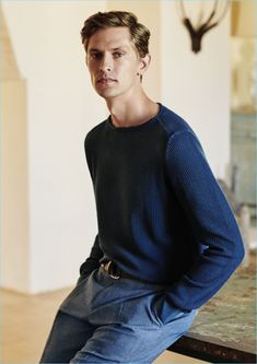 A chic vision, Mathias Lauridsen wears a look from Canali's spring-summer 2018 collection.