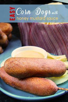 Homemade Corn Dogs with Honey Mustard Sauce - SuMMeR on a stick!
