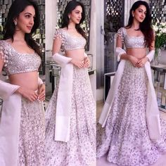 Yay 👍 or Nay 👎 Kiara Advani snapped at her friend engagement ceremony ❤❤❤ . Indian Bridal Outfits, Indian Designer Outfits, Indian Dresses, Indian Skirt, Lehnga Dress, Bridal Lehenga Choli, Floral Lehenga, Lehenga Dupatta, Gown Party Wear