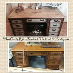 My new PineCreekStyle desk..visit our FB, Pinterest & Instagram pages for more photos.... Furniture Re Done!