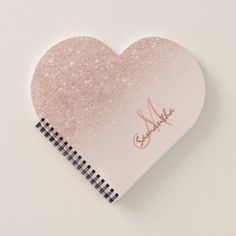Stylish rose gold ombre pink block monogram notebook - glitter glamour brilliance sparkle design idea diy elegant
