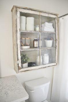 Antique Window Bathroom Cabinet