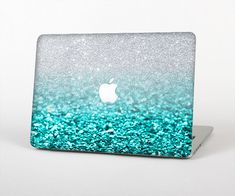 The Tiffany Blue & Silver Glimmer Fade Skin for the Apple MacBook Air - Pro or Pro with Retina Display (Choose Version)