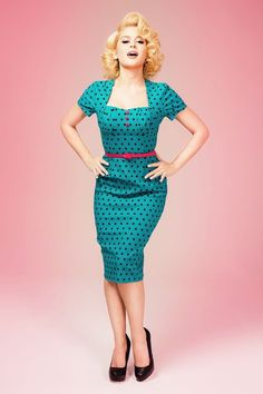 Pinup Couture Charlotte Polkadot Teal Dress 100 49 16338 20150724 0004W