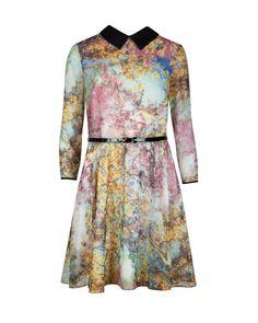 EPONI, Pretty trees print dress - Dusky Pink | Dresses | Ted Baker