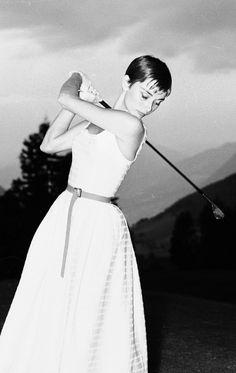 Audrey Hepburn — Audrey Hepburn playing golf in Burgenstock,...