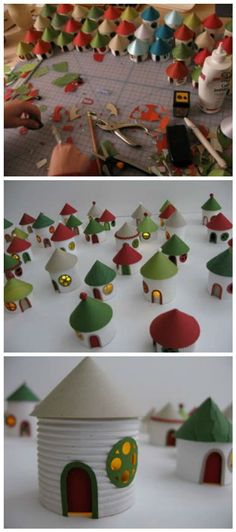Adorable village entirely made from recycled toilet paper rolls . Diy Christmas Village, Christmas Villages, Diy Christmas Gifts, Christmas Art, Christmas Decorations, Christmas Ornaments, Toilet Paper Roll Crafts, Cardboard Crafts, Cardboard Houses