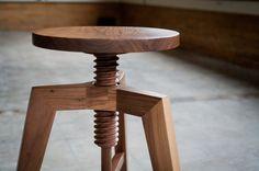Modern Adjustable Solid Walnut Stool by Hedge House Furniture Furniture Making, Cool Furniture, Furniture Design, Milan Furniture, House Furniture, Chair Design, Walnut Furniture, Wooden Furniture, Adjustable Stool