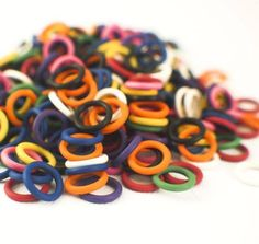 30 5mm OD Blue Stitch Markers or Oh Rings or Jump Rings Rubber