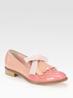 RED Valentino  Bicolor Patent Leather Bow Oxfords