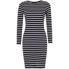 French Connection French Stripe Dress, Utility Blue/Winter White ($47) ❤ liked on Polyvore featuring dresses, vestidos, blue maxi dress, blue dress, striped shift dress, striped maxi dress and cotton shift dress