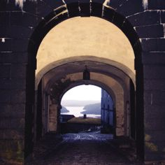 Fjords of Norway seen through the arch of Fredriksten Fortress, Halden