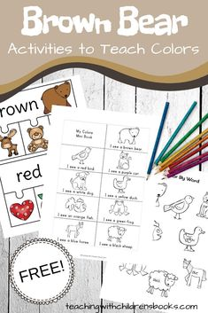 Preschool planning - Learning Colors with Brown Bear Brown Bear Activities – Preschool planning Bear Activities Preschool, Preschool Colors, Teaching Colors, Preschool Lesson Plans, Book Activities, Brown Bear Activities, Tiger Cubs, Tiger Tiger, Bengal Tiger