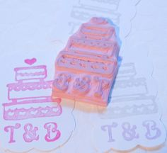 Wedding Cake Personalized  Rubber Stamp Hand Carved by PoshBinky, $15.00
