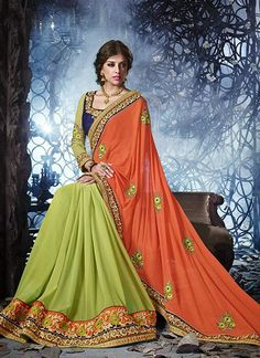 Epitome Sea Green And Peach Georgette Designer Saree, Product Code :12712, shop now http://www.sareesaga.com/epitome-sea-green-and-peach-georgette-designer-saree-12712  Email :support@sareesaga.com What's App or Call : +91-9825192886