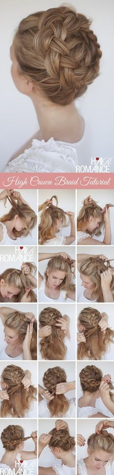 Gorgoeus High Crown Braid Hairstyle #NoviaBodaTotal http://bodatotal.com/blog