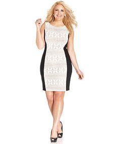 Anne Klein Plus Size Lace Colorblock Sheath #plussizedresses #plussizeclothes #plussizefashion