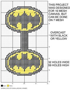 Batman Logo key chain plastic canvas pattern More