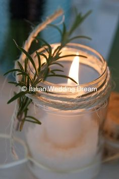 Jar with rosemary and string, very rustic Italian Wedding Dream Rustic Italian Wedding, Italian Wedding Themes, Italian Themed Parties, Tuscan Wedding, Italian Weddings, Wedding Favours Italian, Rustic Italian Decor, Elegant Wedding, Wedding Table