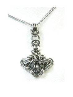 Thors Hammer Necklace Chainmaille Pendant by TangledMetal on Etsy, $39.00