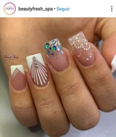 Simple Nail Designs, Nail Art Designs, Magic Nails, Winter Nails, Nail Colors, My Nails, Manicures, Enamel, White Nail Beds