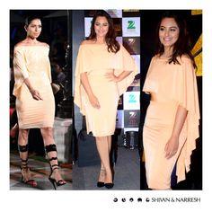 Sonakshi Sinha looking stunning in Shivan & Narresh SS'16 Terracotta Cruise Dress at Zee Cine Awards Press Conference   #SonakshiSinha #ShivanAndNarresh #ZeeCineAwards #CelebStyle #EveningWear