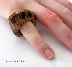 Hand Carved Statement Angle Oak Wood Ring by rusticouture on Etsy