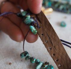 Fringed Turquoise Leather Bracelet (Customer Design) – Lima Beads - new season bijouterie Diy Leather Bracelet, Bracelet Cuir, Leather Cuffs, Diy Leather Fringe Belt, Diy Jewelry Leather, Diy Schmuck, Schmuck Design, Beaded Jewelry, Handmade Jewelry
