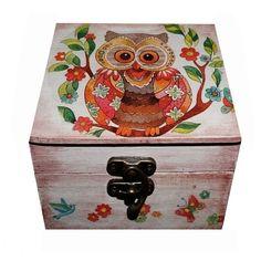 Handmade decorated jewelry box, Owl jewelry box, Painted jewelry box, decoupage jewelry box, Gift jewelry box, Transylvania gift