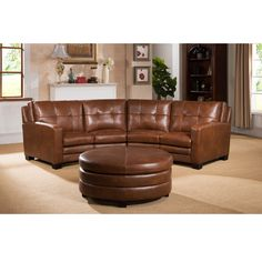 oakbrook brown curved top grain leather sectional sofa and ottoman. beautiful ideas. Home Design Ideas