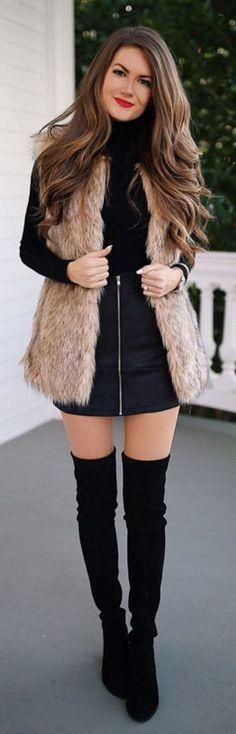 #Winter #Outfits / Faux Fur Vest - Straight Navy Blue Skirt #Vests