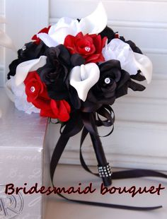 red and black bouquet | ... Bouquet Boutonniere Silk Flower Deep Apple Red Open Rose Black Ribbon