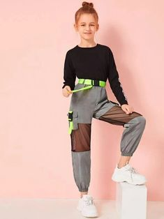 To find out about the Girls Neon Buckle Mesh Insert Wind Pants at SHEIN, part of our latest Girls Pants & Leggings ready to shop online today! Cute Lazy Outfits, Teenage Girl Outfits, Girls Fashion Clothes, Dresses Kids Girl, Kids Outfits Girls, Tween Fashion, Teen Fashion Outfits, Girls Pants, Stylish Outfits