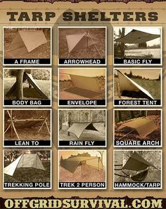 Tarp Shelters - Examples showing how to make multiple types of tarp shelters. With a small amount of paracord and a tarp, you can quickly setup an improvised shelter that will keep you dry and warm with a small reflected fire. Bushcraft Camping, Camping Survival, Outdoor Survival, Survival Prepping, Emergency Preparedness, Bushcraft Pack, Survival Shelter, Survival Life, Wilderness Survival