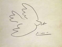 """""""Colombe de la paix"""" dessin de Pablo Ruiz Picasso (1881-1973) peintre, dessinateur et sculpteur espagnol ayant passé l'essentiel de sa vie en France."""