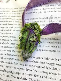 Ivy Quartz Moss Necklace  Polymer Clay Wicca Magic Elf