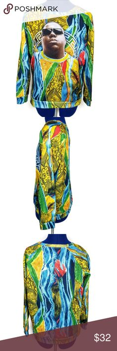 "Brooklyn Mint Notorious Big Biggie M Graphic Shirt Brooklyn Mint Graphic Knit Sweatshirt Womens M Notorious BIG Biggie Hip Hop Rap   MEASUREMENTS  Underarm to Underarm-  20""  length-  24'  Sleeve-  24""  No defects; smoke free Brooklyn Mint Tops Sweatshirts & Hoodies"