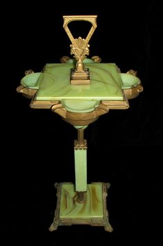 1930s Art Deco Green Onyx Cast Iron Smoking Stand