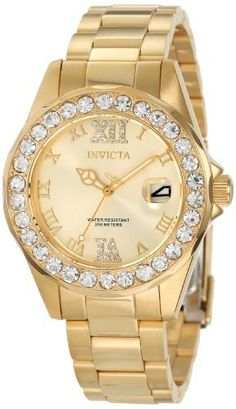 Invicta Women's 15252 Pro Diver Gold Dial Gold plated Stainless Steel Watch - http://dressfitme.com/invicta-womens-15252-pro-diver-gold-dial-gold-plated-stainless-steel-watch/