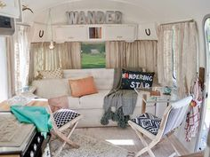 Blogger Sarah Schneider turned an old Airstream into a beautifully decorated haven for her whole family.