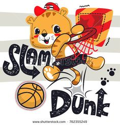 Cartoon cute tiger boy playing basketball on striped background illustration vector, t-shirt graphic design.