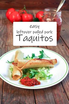 These delicious Taquitos are a perfect use for leftover pulled pork! Less than 30 minutes! #pulledpork #taquitos #cincodemayo #tacotuesday #binkysculinarycarnival